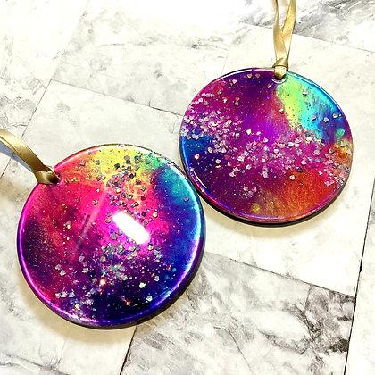 Set of 2 Rainbow Colorshifting Ornaments