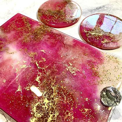 Pink Gold Tray and Coaster Set