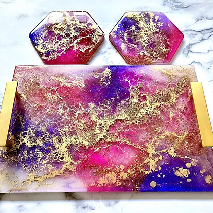 Purple Pink Tray and Coaster Set