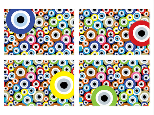 "IDISTI PLACEMATS - ""EVIL EYE"" DESIGN (SET OF 20)"