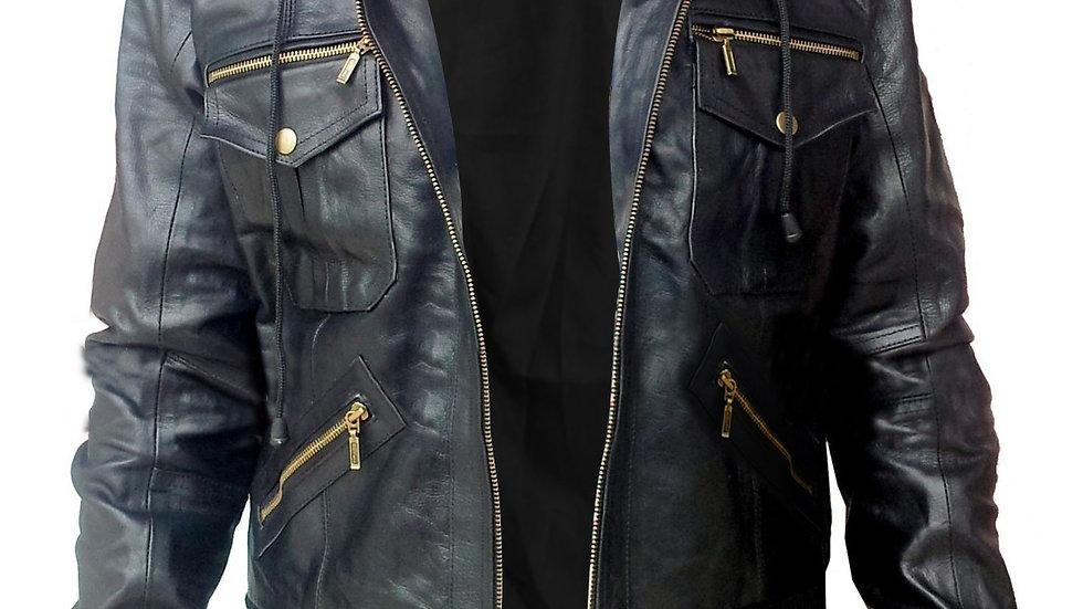 Black Hooded Hoodie Leather Jacket