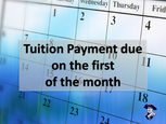 Tuition payment due