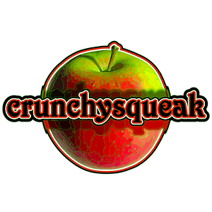The crunchysqueak logo, a crunchy red and green apple.