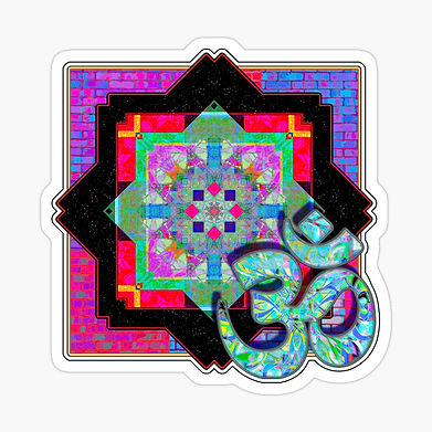 An Om and mandala sticker in bright reds and auqa blues.