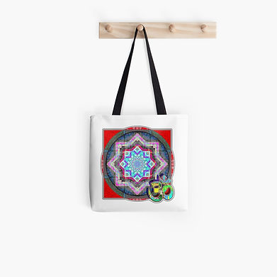 Om over mandal like image on a tote back, red tones predominate.