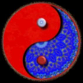 Ying Yang symbol with Persian blue pattening.