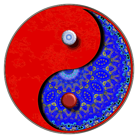 Ying Yang symbol with Persian blue pattening.