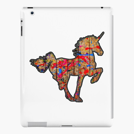 Paint Splattered Wooden Unicorn iPad Case & Skin