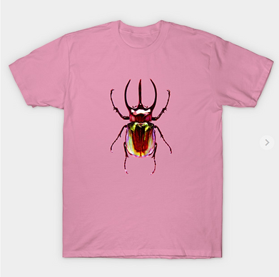 A red stag beetle tshirt design.