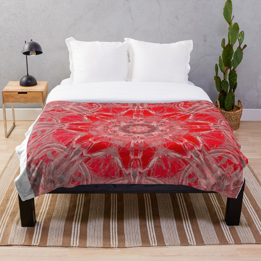 Graceful Red Memories In An Antique Pattern Throw Blanket