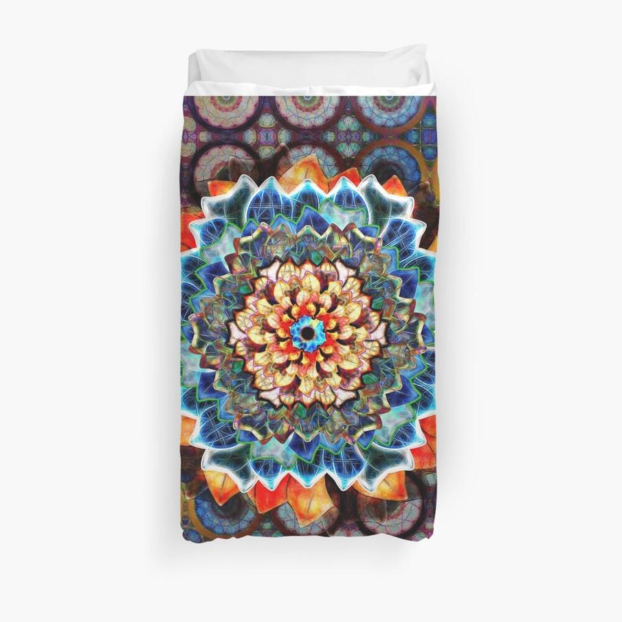 Light In Dark Flower In An Exotic Pattern Duvet Cover