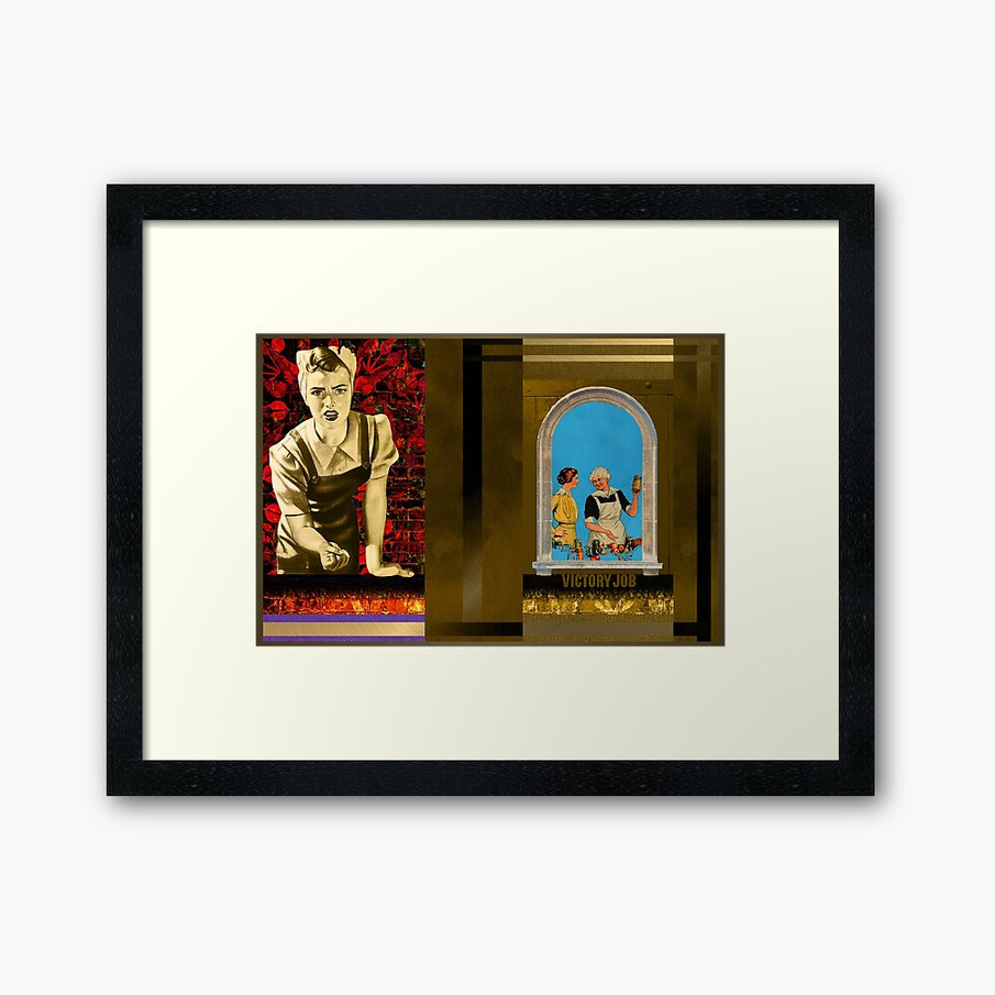 Victory Job Popart Collage Framed Art Print