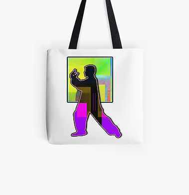 A tai chi figure in block posture printed on a tote bag. Bright colors for a happy mood.