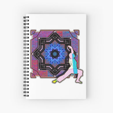 A pruple geometric patterned mandala with a yoga figure in a stretch on a spiral notebook.