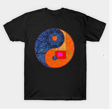 An abstract expression like yinyang symbol with geometric and linear elements.