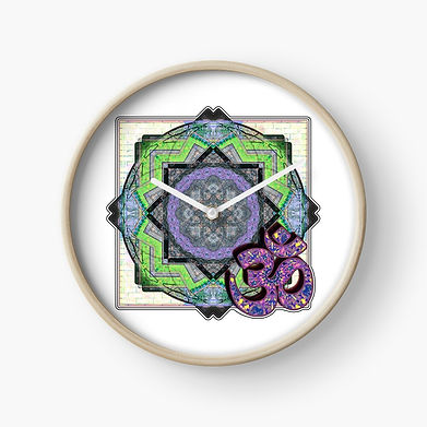 A mandala inspred design on a clock face.
