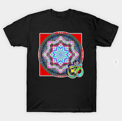 Red mandala pattern with green om symbol in complex patterns.