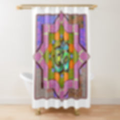 A bright mandala pattern in shades of purple and a blue om symbol on a shower curtain.