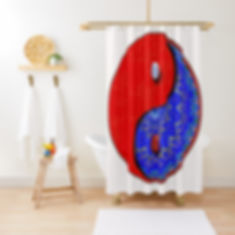 Red and blue patteened ying yang symbol shower curatin.