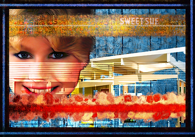 Sweet Sue In Red White And Blue Popart Collage Art Print