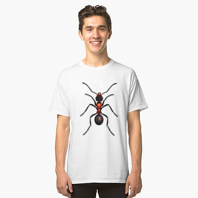 A red hot fire ant graphic tshirt design.