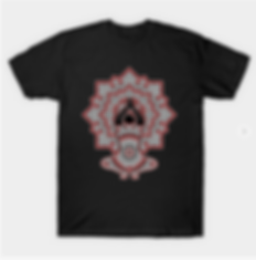 A highly abstracted image of a yoga posture against a geometric mandala pattern in black and red.