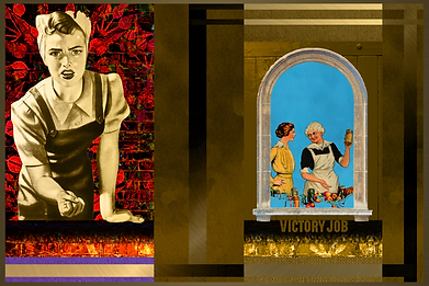 Victory Job Popart Collage Art Print