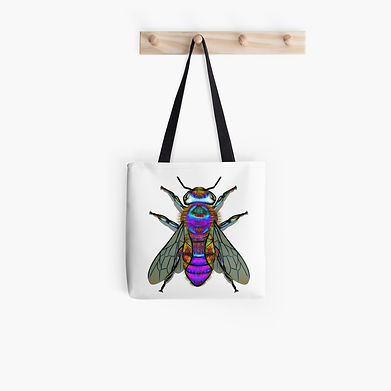 A blue fantasy bee on a tote bag.