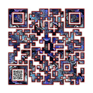 When Scanned the smaller code echoes the larger abstract version with the word 'Dungeon Master' a way to show your gaming class in a quiet way.