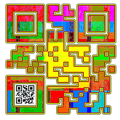 When Scanned the smaller code echoes the larger abstract version with the word 'Happy', a way to say what you want to say in a quiet way.