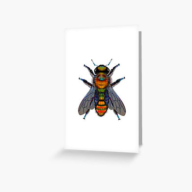A friendly bee on a greeting card.