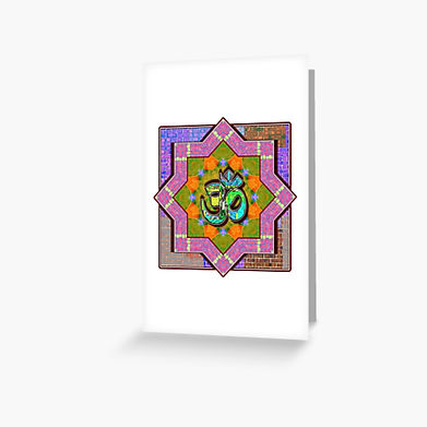 A mandala and om symbol pattern on a greeting card. colors are green, red, and pinks.