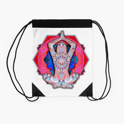 Yoga Patterns Red And Blue Drawstring Bag