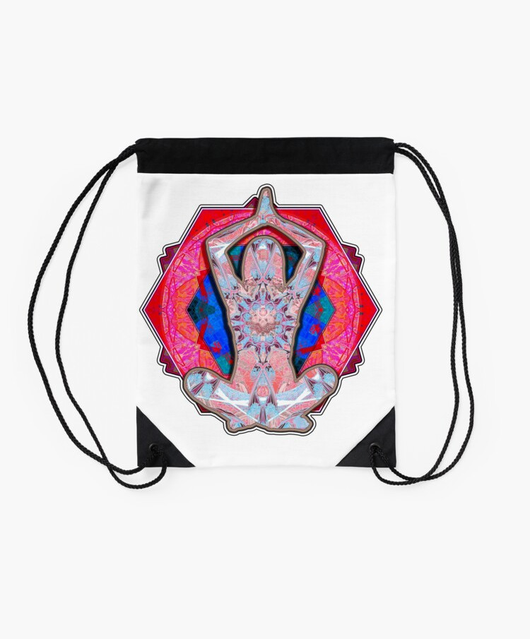 Yoga Patterns Red And Blue Drawstring Bag