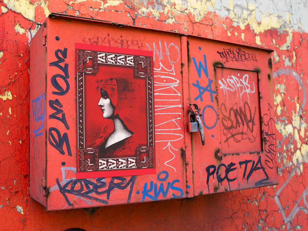Victorian lady as a queen like image pasted up on a graffiti covered utility box.