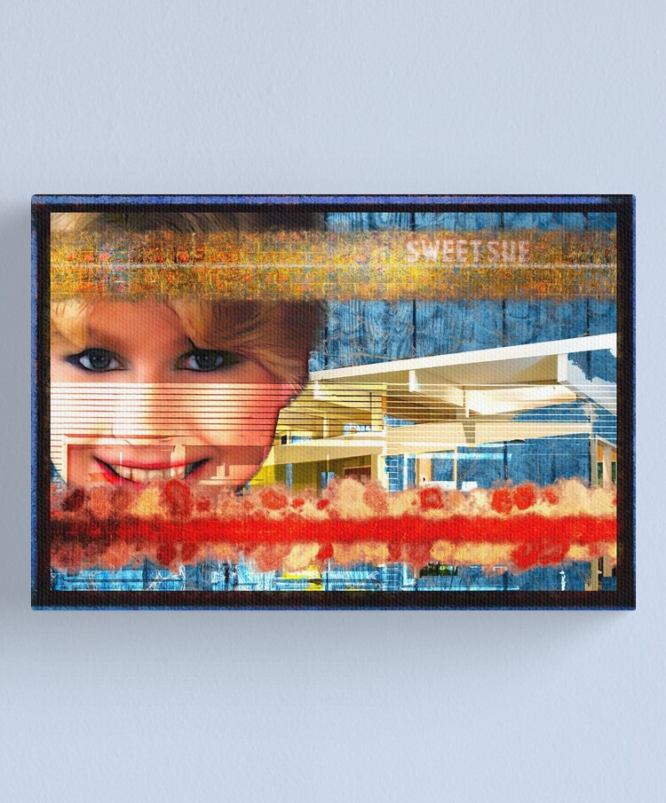 Sweet Sue In Red White And Blue Popart Collage Canvas Print