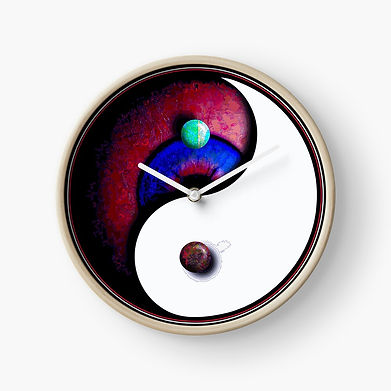 A Ying Yang eyeball image with floating stones made to fit a clock dial. A surreal version of time and balance.