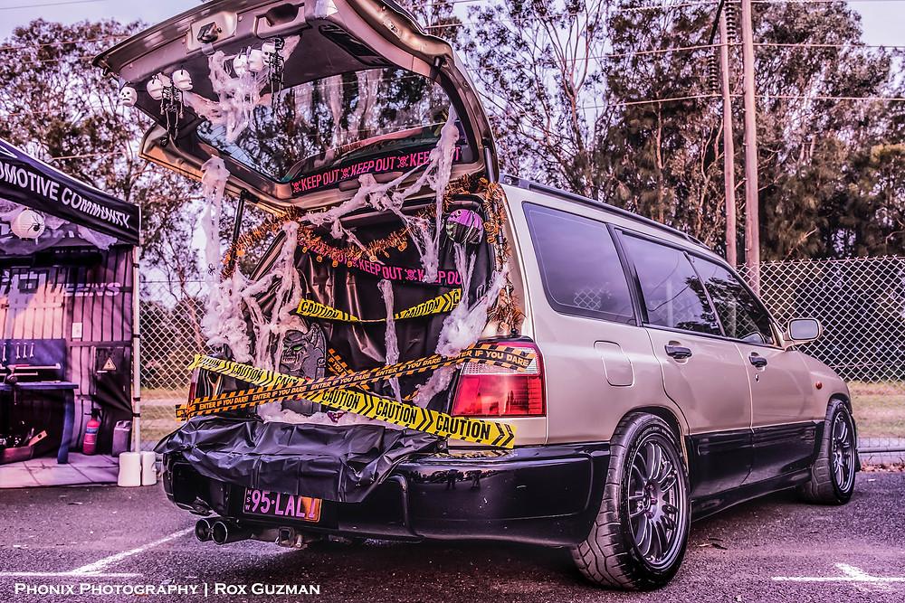 Street Ignition Queens, ladies automotive community, Halloween car show, Subaru Forester, halloween car boot ideas