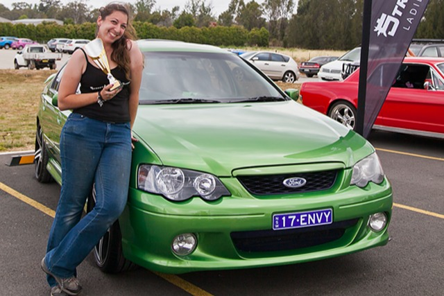 Ruth Struth winning a trophy for her Ford Falcon Envy