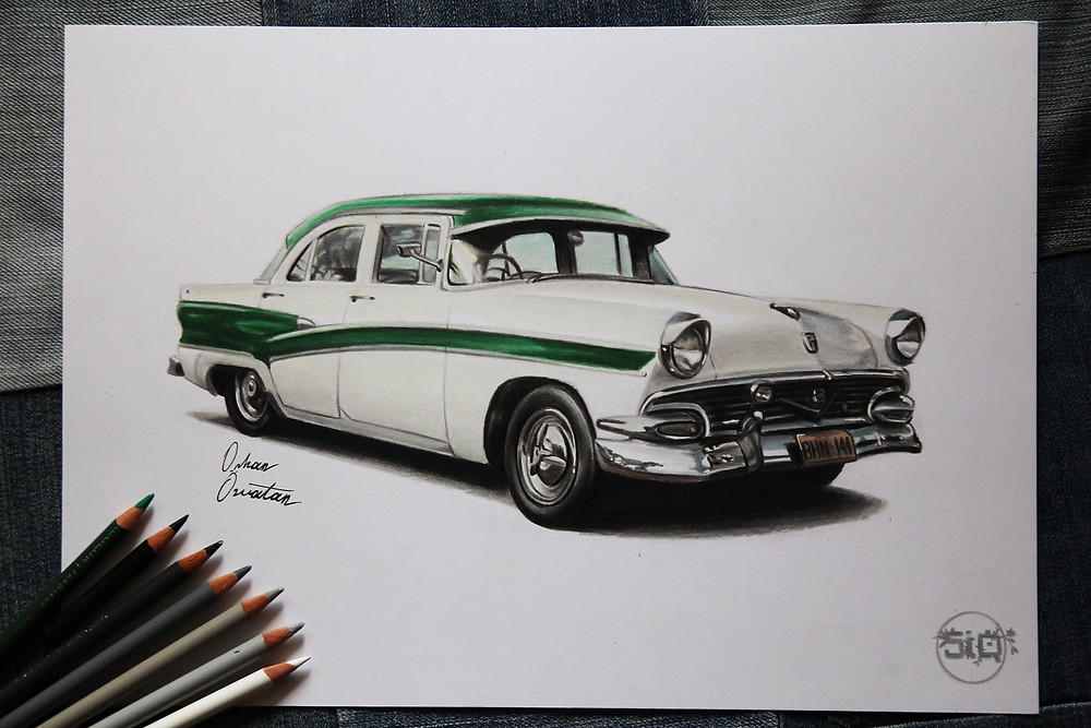 Pride and joy, art, automotive art, Orhan Ozvatan, Drawings by Orhan Özvatan, Ford Customline, Street Ignition Queens, Ladies Automotive Community, Father's Day