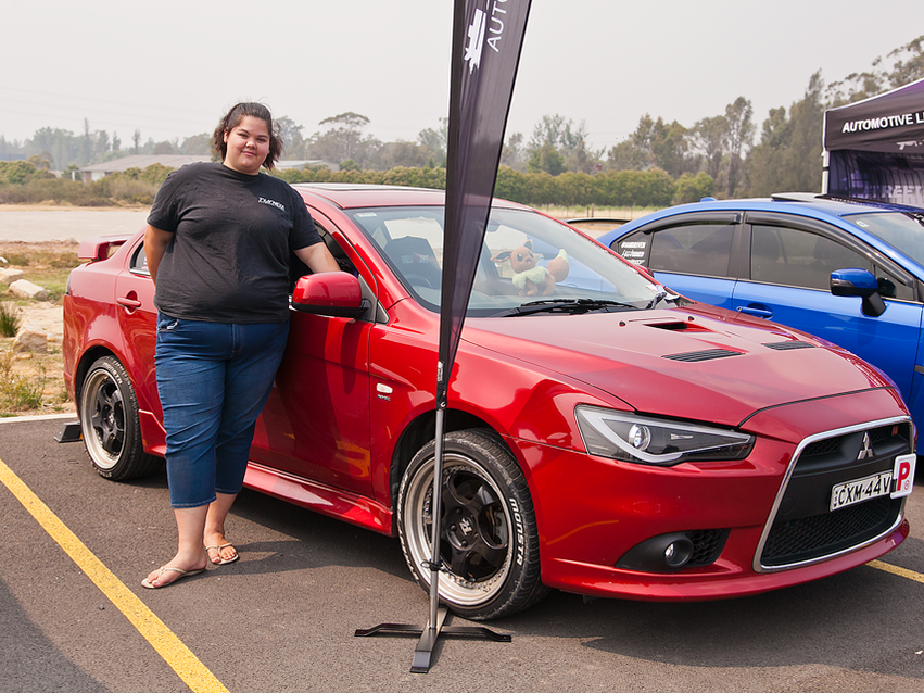 Erin Avery and her Mitsubishi Ralliart