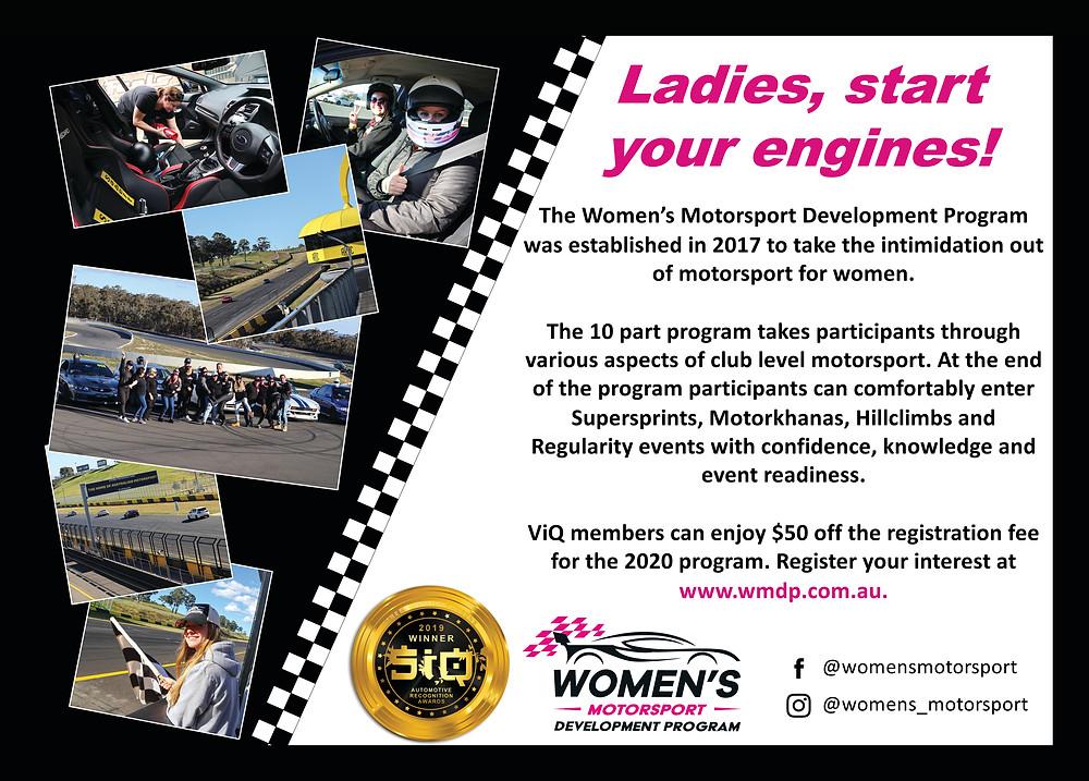 Women's Motorsport Development Program, WMDP, Rachelle Stirling, Street Ignition Queens Best Products Service Automotive Recognition Awards 2019