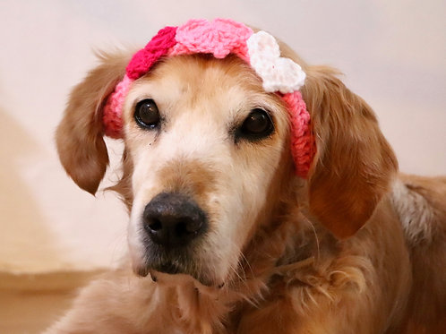 Pink Valentines Day Heart Headband for Dogs