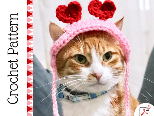 Heart Headband for Cats - Crochet Pattern