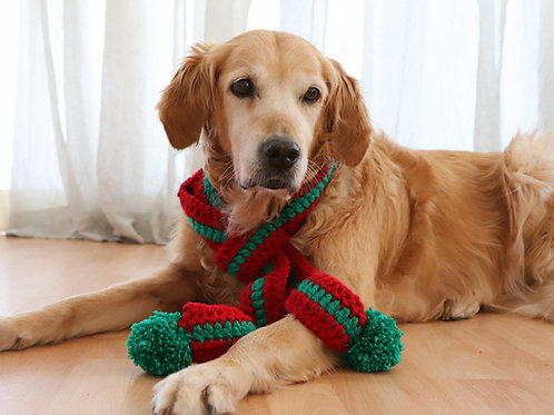 Striped Christmas Scarf for Dogs