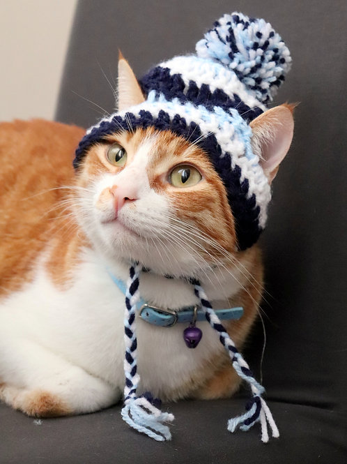 Navy and Light Blue Striped Beanie Hats for Cats