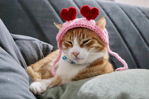 Valentines Day Heart Headband for Cats
