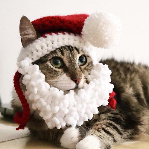Bearded Santa Hat for Cats