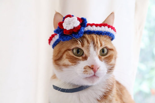 4th of July Flower Headband / Collar Accessory for Cats