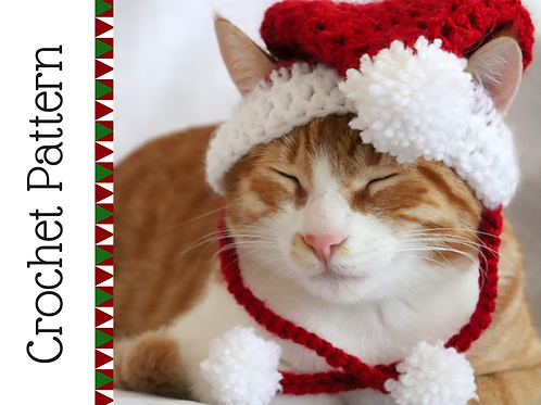 Santa Cat Hat Crochet Pattern